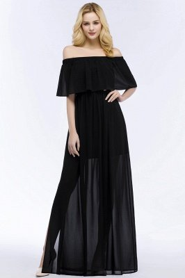 PANDORA | A-line Off-the-shoulder Floor Length Black Chiffon Bridesmaid Dresses_1