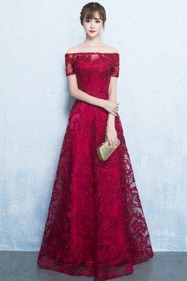 A-Linie Off-the-Schulter kurzen Ärmeln langen Perlen Applikationen Prom / formale Abendkleider_1