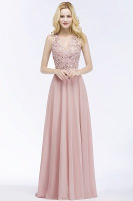 PAM | A-line V-neck Sleeveless Long Appliques Chiffon Bridesmaid Dresses_10