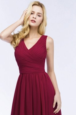 PATIENCE | A-line Floor Length V-neck Sleeveless Ruffled Chiffon Bridesmaid Dresses_5