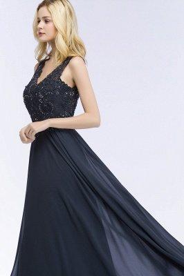 PATRICIA | Une ligne de v-cou sans manches longues appliques en mousseline de soie robes de bal avec des cristaux_6