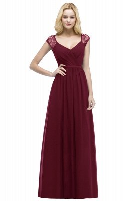 ROSALIA | A-line V-neck Floor Length Lace Chiffon Bridesmaid Dresses with Sash_1