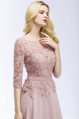 Lace Appliques Chiffon Long Bridesmaid Dresses with Sleeves_6