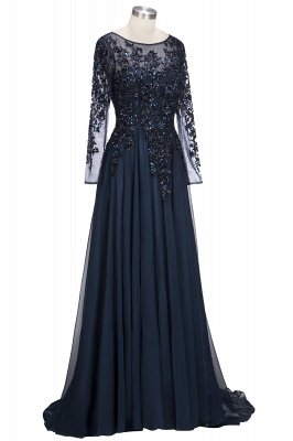 ROWENA | A-line Floor Length Long Sleeves Crystals Tulle Prom Dresses_8