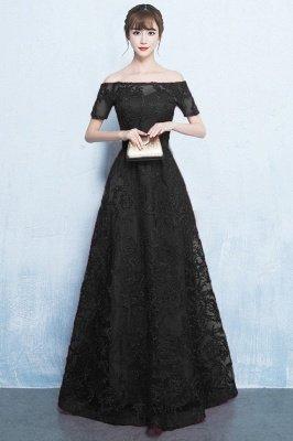 A-Linie Off-the-Schulter kurzen Ärmeln langen Perlen Applikationen Prom / formale Abendkleider_3
