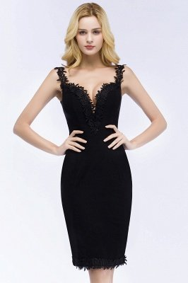 PAIGE | Mermaid Knee Length Sweetheart Sleeveless Black Appliques Homecoming Dresses_8