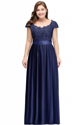 HOLLAND   A-Line Scoop Floor Length Cap Sleeves Appliques Silver Evening Dresses with Sash_4