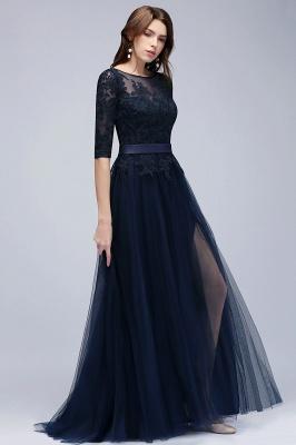 NANA | A-line Half Sleeves Floor Length Slit Appliqued Tulle Prom Dresses with Sash