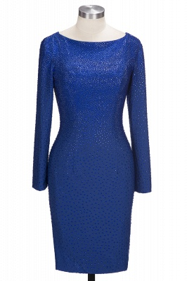 OPAL | Mermaid Long Sleeves kurze Kristalle Royal Blue Prom Kleider