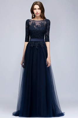 NANA | A-line Half Sleeves Floor Length Slit Appliqued Tulle Prom Dresses with Sash