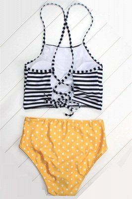 Patterned Halter Polyester Bikinis Swimwear_4