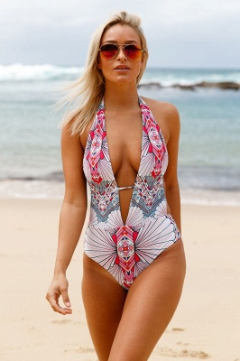 Deep V-neck Halter One-piece Printed Swimsuit_1