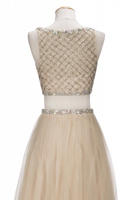 OPHELIA   A-line Two-piece Floor Length Sleeveless Tulle Prom Dresses with Crystals