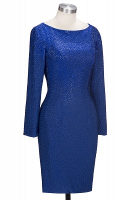 OPAL | Mermaid Long Sleeves Short Crystals Royal Blue Prom Dresses