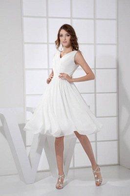 KIMBERLY   A Type V-Neck Chiffon White Bridesmaid Dress with Fold_1