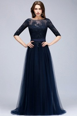 NANA | A-line Half Sleeves Floor Length Slit Appliqued Tulle Prom Dresses with Sash_3