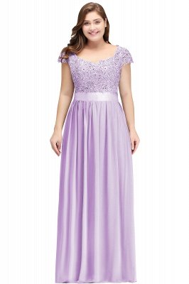 HOLLAND | A-Line Scoop Floor Length Cap Sleeves Appliques Silver plus size BridesmaidDresses with Sash_3