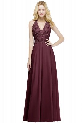 PAM | A-line V-neck Sleeveless Long Appliques Chiffon Bridesmaid Dresses_2