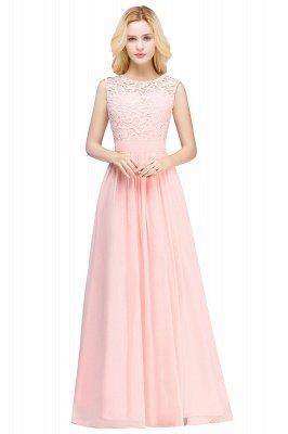EMELY | Sheath Crew Sleeveless Floor-length Lace Top Chiffon Bridesmaid Dresses_1