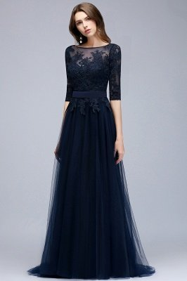 NANA | A-line Half Sleeves Floor Length Slit Appliqued Tulle Prom Dresses with Sash_5