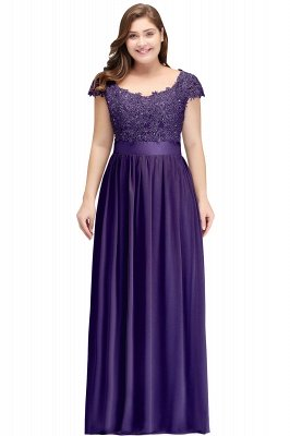 HOLLAND | A-Line Scoop Floor Length Cap Sleeves Appliques Silver plus size BridesmaidDresses with Sash_2