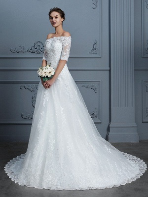 Off-the-Shoulder Ball Gown Half Sleeves Beading Lace Court Train Wedding Dresses