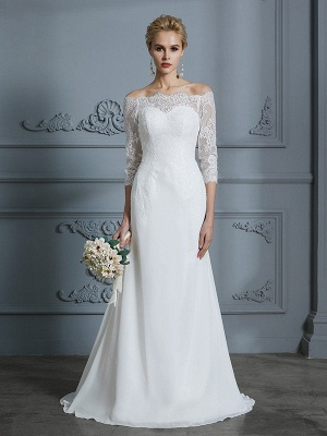 Mermaid Off-the-Shoulder Half Sleeves Sweep Train Chiffon Wedding Dresses