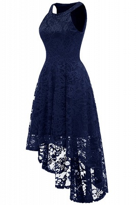 Lace Dress Female Robe Casual 1950s Rockabilly High Low Sleeveless Swing Summer Dresses_9