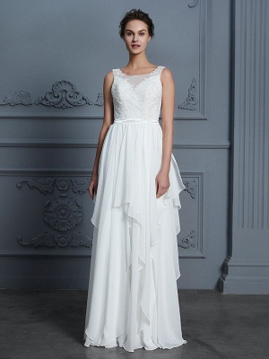 Scoop Sleeveless A-Line Ruffles Floor-Length Chiffon Wedding Dresses