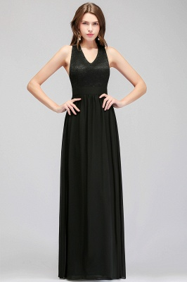 MAGGIE | A-line V-neck Floor Length Sleeveless Lace Top Black Bridesmaid Dresses_6