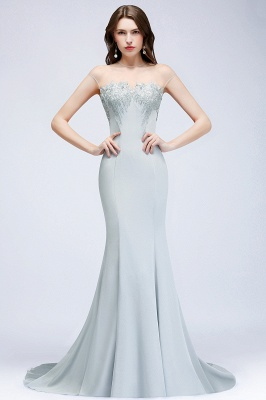 MADONNA | Mermaid Floor Length Cap-sleeves Silver Appliques Evening Dresses