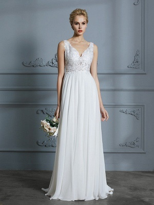 Sleeveless V-neck A-Line Sweep Train Chiffon Wedding Dresses