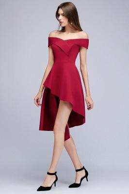 MALLORY | A-line Asymmetrical Short Off-the-shoulder Burgundy Prom Dresses_4