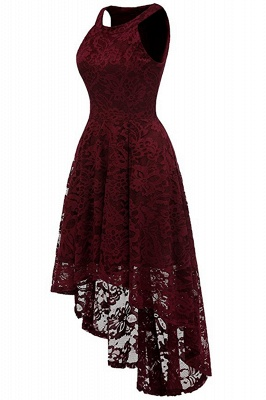 Lace Dress Female Robe Casual 1950s Rockabilly High Low Sleeveless Swing Summer Dresses_4