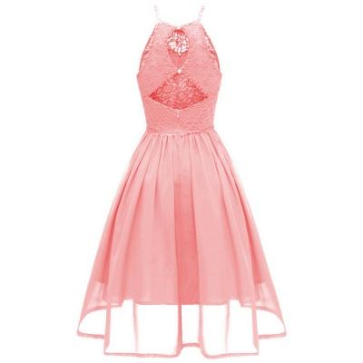 Pink Patchwork Condole Belt Lace Cut Out Round Neck Sweet Lace Dress_3