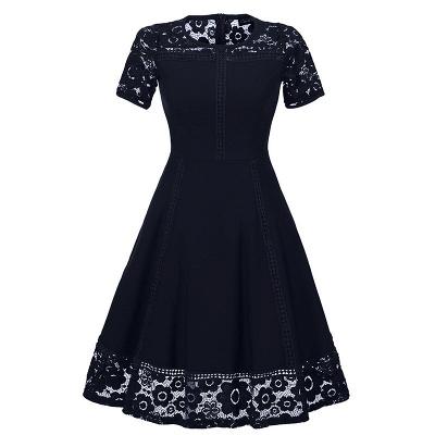Elegant Women Round Neck Vintage Lace Dress Homecoming Dress_3