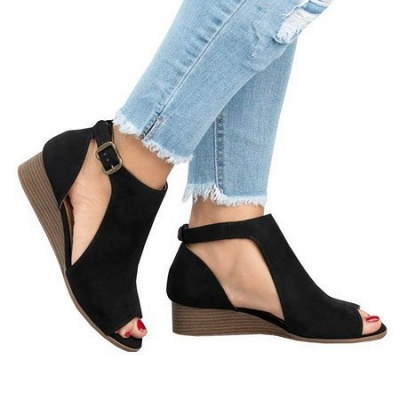 New Adjustable Buckle Casual Wedges Summer Sandals_9