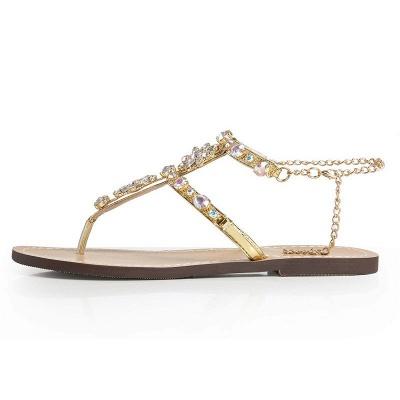 Plage chaîne strass quotidien sandales sandales_6