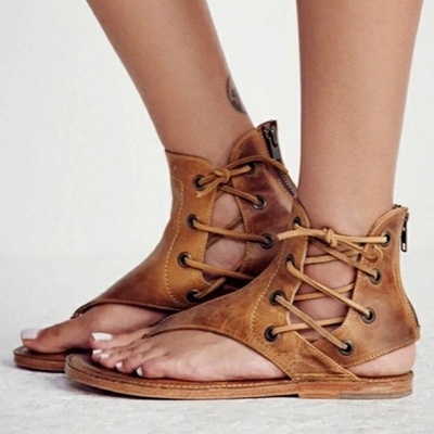 Lace-up Hollow-out Beach Tongs Sandales_5