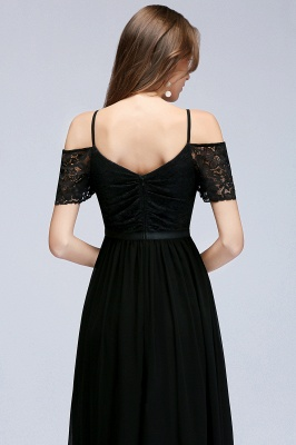 MAGNOLIA | A-line Long Spaghetti V-neck Black Lace Chiffon Bridesmaid Dresses_8