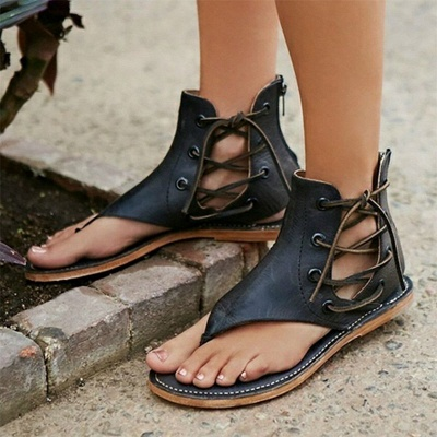 Lace-up Hollow-out Beach Tongs Sandales_8