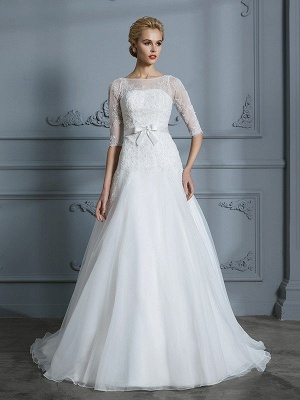 A-Line Court Train Half Sleeves Scoop Lace Tulle Wedding Dresses