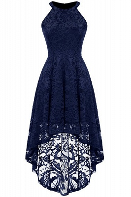 Lace Dress Female Robe Casual 1950s Rockabilly High Low Sleeveless Swing Summer Dresses_7