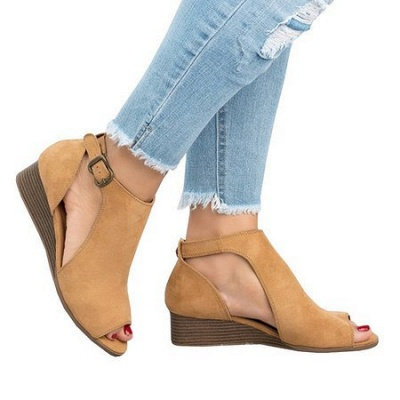 New Adjustable Buckle Casual Wedges Summer Sandals_8