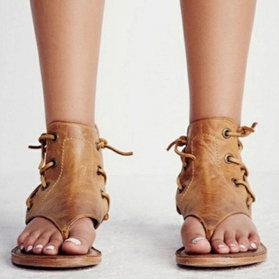 Lace-up Hollow-out Beach Tongs Sandales_6