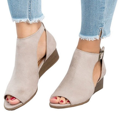 New Adjustable Buckle Casual Wedges Summer Sandals_3