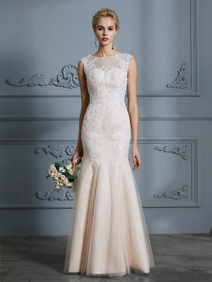 Sleeveless Mermaid Floor-Length Scoop Tulle Applique Wedding Dresses