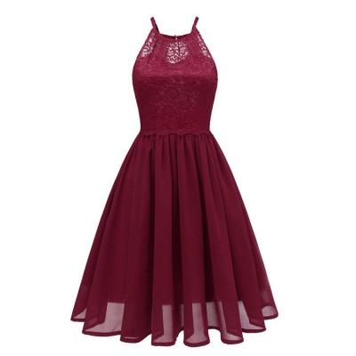 Pink Patchwork Condole Belt Lace Cut Out Round Neck Sweet Lace Dress_4