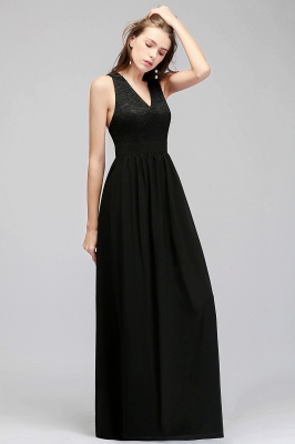 MAGGIE | A-line V-neck Floor Length Sleeveless Lace Top Black Bridesmaid Dresses_8