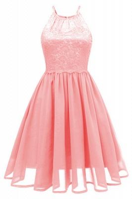Pink Patchwork Condole Belt Lace Cut Out Round Neck Sweet Lace Dress_5